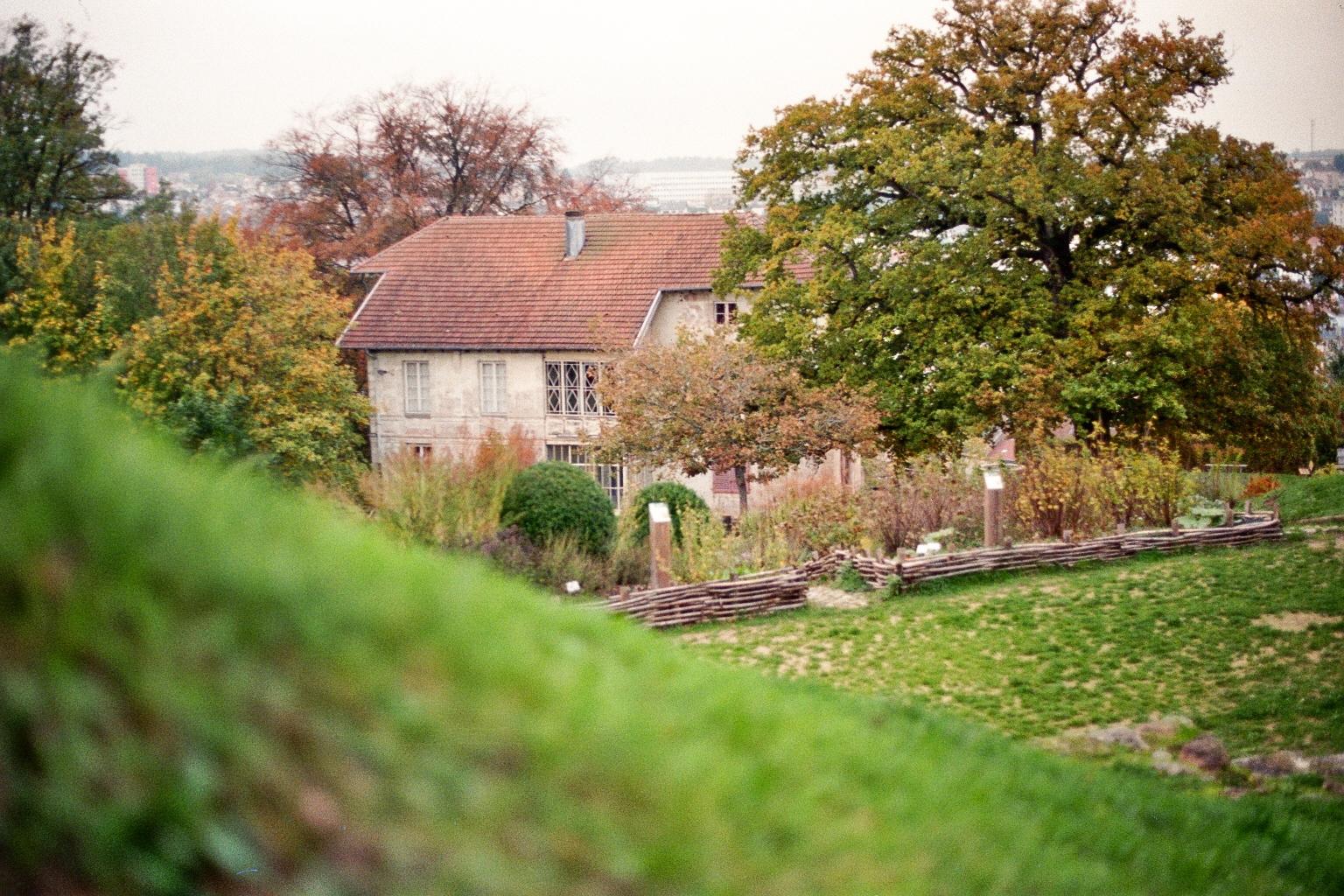Haus auf einem Hügel mit Garten