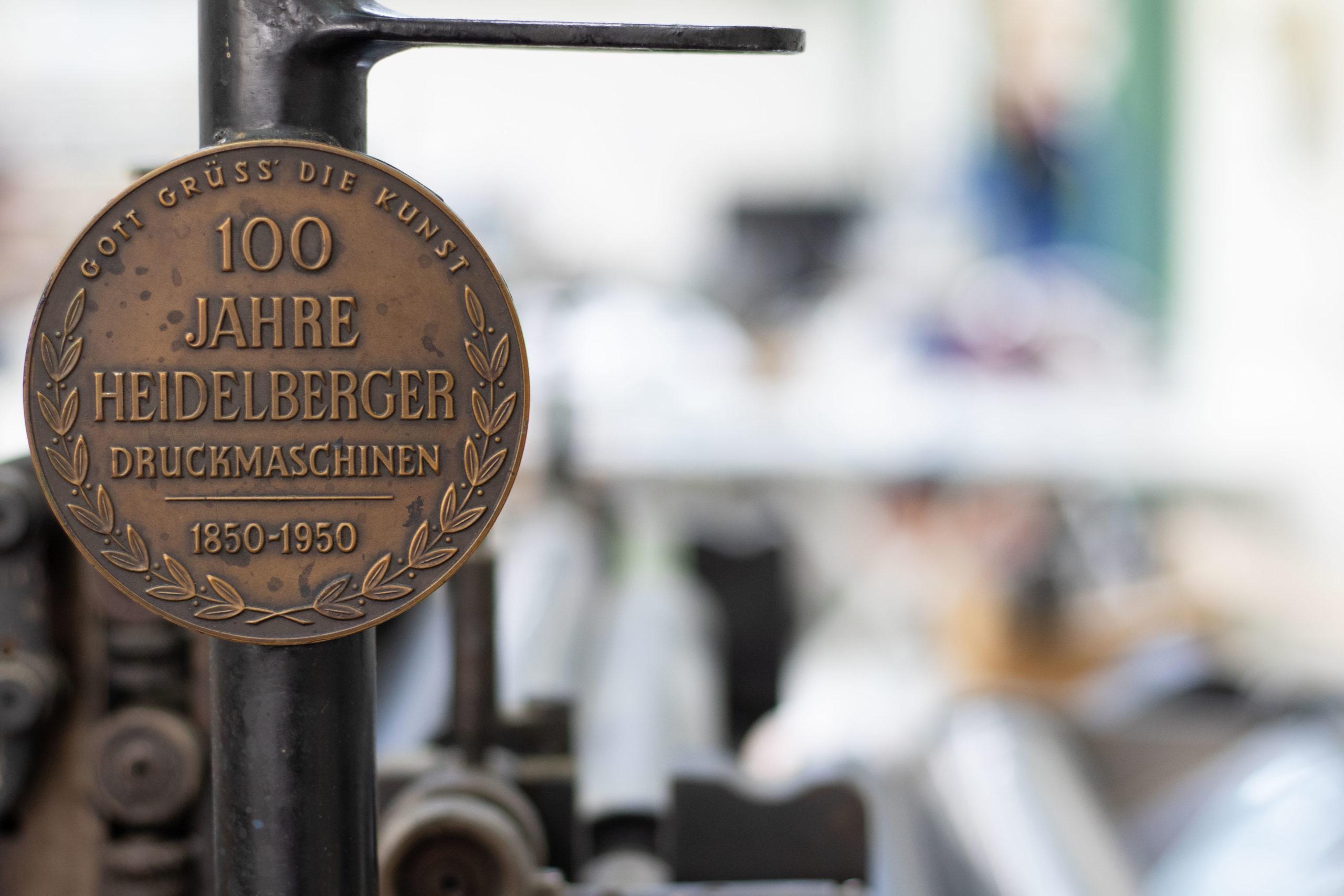 Metal Schild einer Heidelberger Druckmaschine